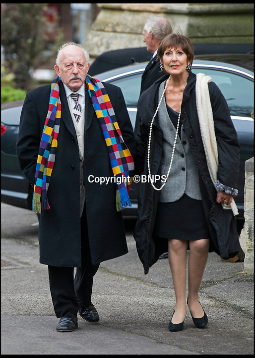 BNPS.co.uk (01202 558833)<br /> Pic: TomWren/BNPS<br /> <br /> Actress Anita Harris attends the funeral of Ed Stewart at St Peter's Church, Bournemouth. <br /> <br /> Famous faces of radio and TV from yesteryear led tributes today as former Radio 1 DJ Ed 'Stewpot' Stewart signed off for the final time.<br /> <br /> Among the well-known names who filled the church in Bournemouth, Dorset to say their last goodbyes to the DJ and Crackerjack presenter were fellow former DJ Mike Read, Carry On actress Anita Harris, comedian Bobby Davro and TV personality John Virgo.