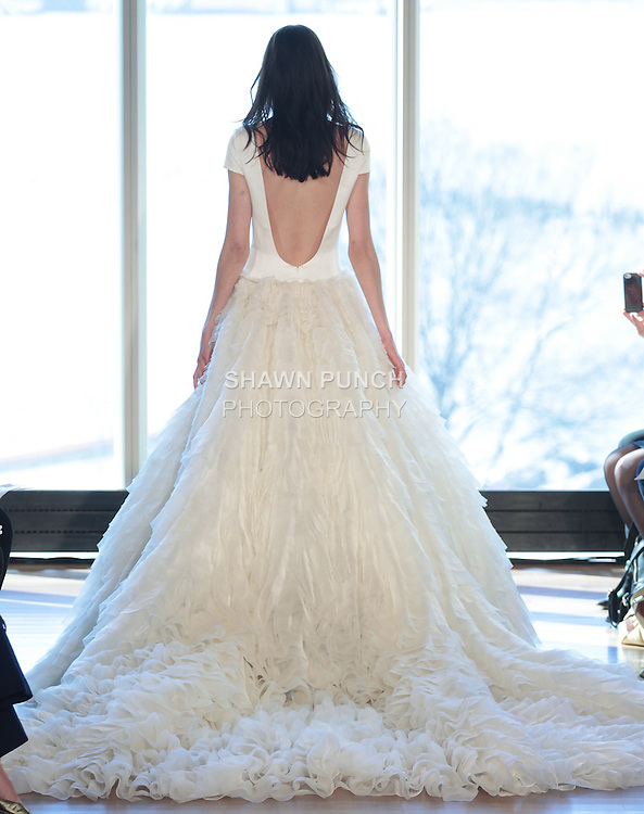 "Model Alexandra walks runway in a ""Bernadetta"" bridal gown from the Rivini Spring Summer 2017 bridal collection by Rita Vinieris at The Standard Highline Room, during New York Bridal Fashion Week on April 15, 2016."