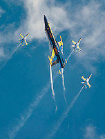 "101003-N-7981E-019 SAN DIEGO (OCTOBER 3, 2010)- F/A-18C Hornets assigned to the U.S. Navy flight demonstration squadron, the Blue Angels, perform during the Marine Corps Air Station Miramar 2010 Air Show. The air show, held October 1-3, was themed ""Marines: A Tradition of Uncommon Valor"" in honor of the 65th anniversary of the Battle of Iwo Jima. (U.S. Navy photo by Mass Communication Specialist 2nd Class James R. Evans / RELEASED)"