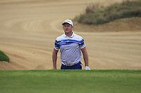 Jamie Donaldson (WAL) in a bunker at the 4th green during Saturay's Round 3 of the 2014 BMW Masters held at Lake Malaren, Shanghai, China. 1st November 2014.<br /> Picture: Eoin Clarke www.golffile.ie