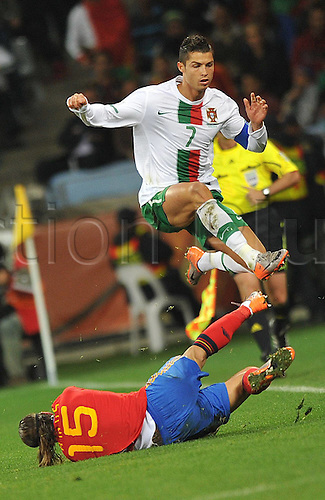 30 06 2010   Cape Town Cristiano Ronaldo  of Portugal Breaks Through during The 2010 World Cup Round of 16 Soccer Match Against Spain AT Green Point stadium in Cape Town South Africa ON June 29 2010  2010 FIFA World Cup Spain vs Portugal
