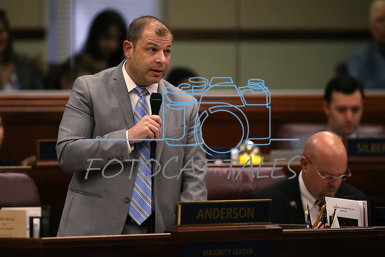 Nevada Assembly Majority Leader Paul Anderson, R-Las Vegas, works on the Assembly floor at the Legislative Building in Carson City, Nev., on Tuesday, March 3, 2015. <br /> Photo by Cathleen Allison