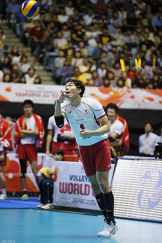 Kunihiro Shimizu (JPN), SEPTEMBER 21, 2015 - Volleyball : FIVB Men's World Cup 2015 A-site 3rd Round between Japan 0-3 Argentina 1st Yoyogi Gymnasium in Tokyo, Japan. (Photo by Yusuke Nakanishi/AFLO SPORT)