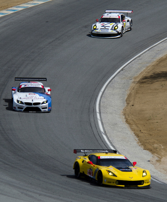 Monterey California, May 4, 2014, Laguna Seca Monterey Grand Prix, Corvette leads through turn 9