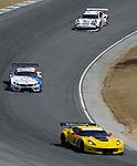 Monterey California, May 4, 2014, Laguna Seca Monterey Grand Prix, Corvette leads through turn 9