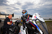 Apr 20, 2018; Baytown, TX, USA; NHRA top fuel driver Antron Brown during qualifying for the Springnationals at Royal Purple Raceway. Mandatory Credit: Mark J. Rebilas-USA TODAY Sports