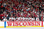 The Wisconsin Badgers hockey team looks on from the bench during an NCAA tournament game against the Minnesota Duluth Bulldogs at the Kohl Center in Madison, Wisconsin on March 12, 2011. Wisconsin won 2-1. (Photo by David Stluka)