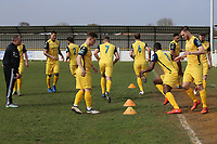 Hornchurch players during warmup during Witham Town vs AFC Hornchurch, Bostik League Division 1 North Football at Spa Road on 14th April 2018