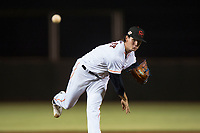 Scottsdale Scorpions starting pitcher Forrest Whitley (11), of the Houston Astros organization, follows through on his delivery during an Arizona Fall League game against the Mesa Solar Sox on October 9, 2018 at Scottsdale Stadium in Scottsdale, Arizona. The Solar Sox defeated the Scorpions 4-3. (Zachary Lucy/Four Seam Images)