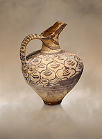 "Minoan decorated jug  with stylised floral design , Konssos  'Unexplored Mansion"" 1450-1370 BC; 1400-1250 BC; Heraklion Archaeological  Museum"