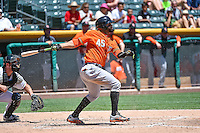 Jonathan Villar (45) of the Fresno Grizzlies at bat against the Salt Lake Bees in Pacific Coast League action at Smith's Ballpark on June 14, 2015 in Salt Lake City, Utah.  (Stephen Smith/Four Seam Images)