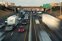 5pm traffic congestion on the I-35 freeway in Austin, Texas