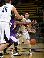 Brandon Smith of California passes the ball during the game against SFSU at Haas Paviliion in Berkeley, California on November 6th, 2012.  California defeated San Francisco State, 89-80.