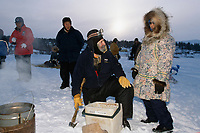 Charlie Boulding Talks w/ Local Resident @ White Mt.<br /> 2004 Iditarod