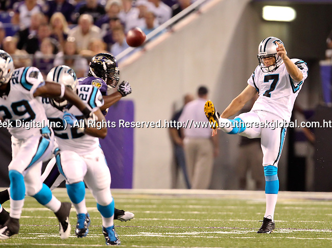 Aug 12, 2010: Carolina Panther punter Jason Baker (#7) kicks the ball away in the second quarter against the Baltimore Ravens. The Ravens defeated the Panthers 17-12 as the teams played their first preseason game at M & T Bank Stadium in Baltimore, Maryland. (Mandatory credit:  Margaret Bowles/Southcreek Global Media)