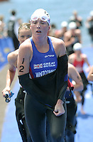 09 MAY 2004 - FUNCHAL, MADEIRA - Andrea Whitcombe (GBR) heads for transition at the Elite Womens World Triathlon Championships. (PHOTO (C) NIGEL FARROW)