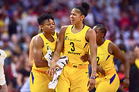Washington, DC - August 17, 2018: Tempers flare between Washington Mystics forward Tianna Hawkins (21) and Los Angeles Sparks forward Candace Parker (3) during game between the Washington Mystics and Los Angeles Sparks at the Capital One Arena in Washington, DC. (Photo by Phil Peters/Media Images International)
