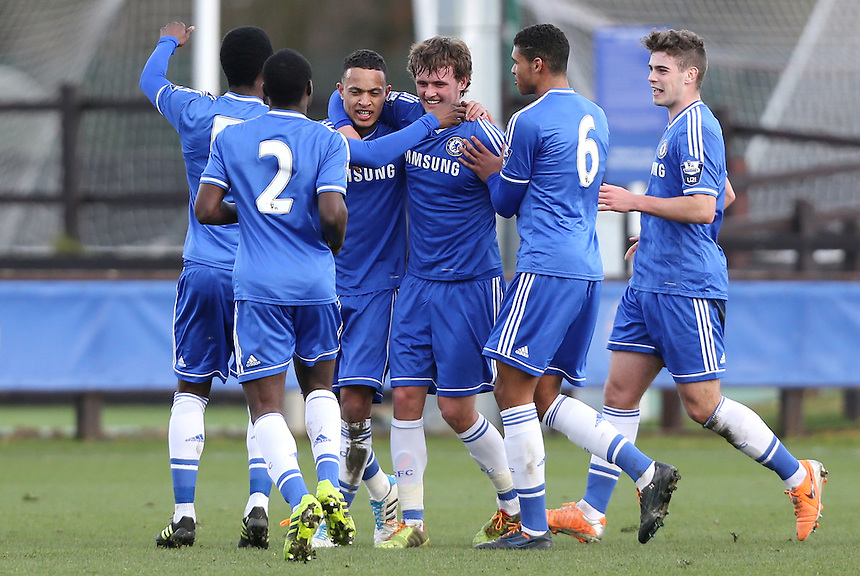 Lewis Baker of Chelsea is congratulated after scoring their 1st goal<br /> <br /> Photo by Rob Newell/CameraSport<br /> <br /> Football - UEFA Youth League last 16 - Chelsea U19 v AC Milan U19 - Tuesday 25th February - Cobham - London<br /> <br /> &copy; CameraSport - 43 Linden Ave. Countesthorpe. Leicester. England. LE8 5PG - Tel: +44 (0) 116 277 4147 - admin@camerasport.com - www.camerasport.com