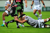 Guy Mercer of Bath Rugby tackles Brandon Fajardo of Pau. European Rugby Challenge Cup match, between Pau (Section Paloise) and Bath Rugby on October 15, 2016 at the Stade du Hameau in Pau, France. Photo by: Patrick Khachfe / Onside Images