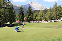 Haydn Porteous (RSA) on the 5th green during Sunday's Final Round 4 of the 2018 Omega European Masters, held at the Golf Club Crans-Sur-Sierre, Crans Montana, Switzerland. 9th September 2018.<br /> Picture: Eoin Clarke | Golffile<br /> <br /> <br /> All photos usage must carry mandatory copyright credit (&copy; Golffile | Eoin Clarke)