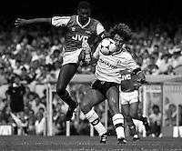 Pix:Michael Steele/SWpix...Soccer. Arsenal v Manchester United, 1986...COPYRIGHT PICTURE>>SIMON WILKINSON..Paul Davis (left)of Arsenal  and Clayton Blackmore of Manchester United challenge for the ball.