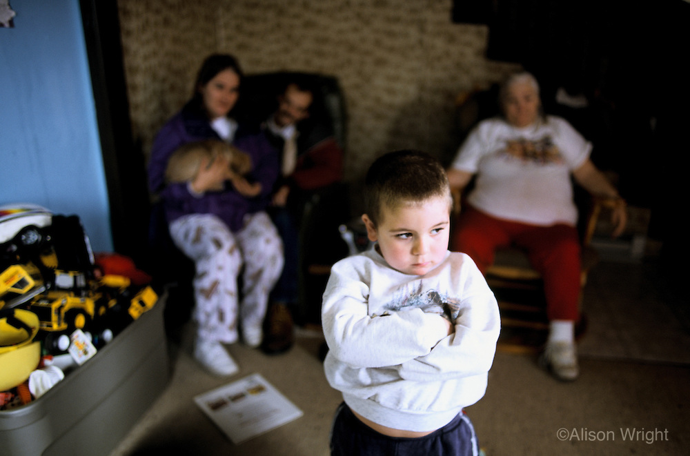 New York, Plattsburg. This family are the parents of four disturbed boys, all suffering from ADD, ADHD. One son,9, is suicidal and depressed and abusive, so no knives are allowed in the house.