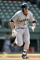 Designated hitter John Riley (29) of the Augusta GreenJackets bats in a game against the Greenville Drive on Wednesday, April 25, 2018, at Fluor Field at the West End in Greenville, South Carolina. Augusta won, 9-2. (Tom Priddy/Four Seam Images)