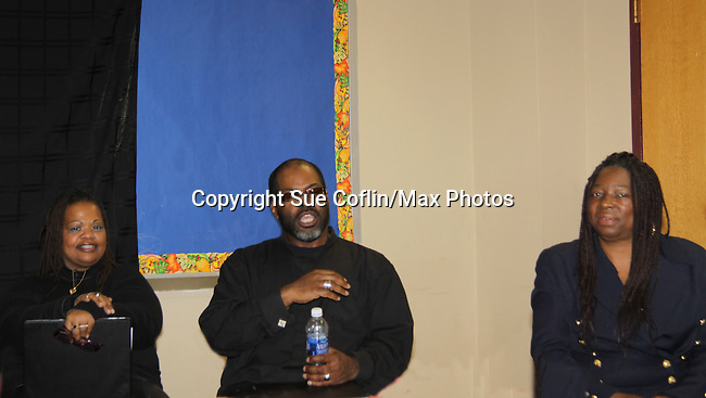 """KimDeon; Michael Davis & Evern Gillard-Randolph who is a playwrigh and founder of Grandparents Around the World, presents her new play """"To Do List"""" in a first play reading on December 7, 2013 at the Salvation Army Harlem Corps, New York, New York.   (Photo by Sue Coflin/Max Photos)"""