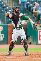 Augusta GreenJackets catcher Trevor Brown (41) throws the ball back to his pitcher during the South Atlantic League game against the Greensboro Grasshoppers at NewBridge Bank Park on August 11, 2013 in Greensboro, North Carolina.  The GreenJackets defeated the Grasshoppers 6-5 in game one of a double-header.  (Brian Westerholt/Four Seam Images)
