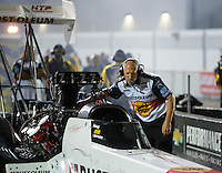 Sep 2, 2016; Clermont, IN, USA; Mike Kerns , crew chief for NHRA top fuel driver T.J. Zizzo during qualifying for the US Nationals at Lucas Oil Raceway. Mandatory Credit: Mark J. Rebilas-USA TODAY Sports
