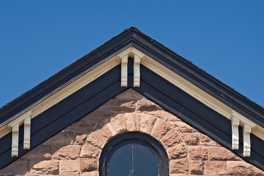 Detail of historic sandstone building of downtown Marquette Michigan.