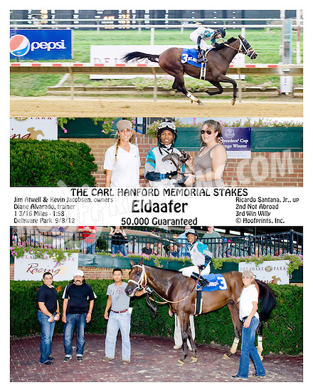 Eldaafer winning The Carl Hanford Memorial Stakes at Delaware Park on 8/25/12