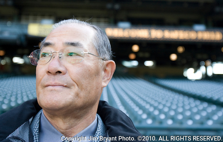 Japanese Baseball League legend Isao Harimoto watches Seattle Mariners right fielder Ichiro Suzuki, of Japan, warm up before a game against the  L.A Angels at SAFECO Field in Seattle April 16, 2009. In last night's 11-3 win over the Angels, Suzuki tied Harimoto for most hits by a countryman (3,085). Jim Bryant Photo. ©2010. ALL RIGHTS RESERVED.