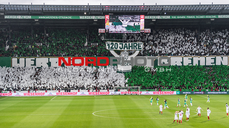 10.02.2019, Weserstadion, Bremen, GER, 1.FBL, Werder Bremen vs FC Augsburg<br /> <br /> DFL REGULATIONS PROHIBIT ANY USE OF PHOTOGRAPHS AS IMAGE SEQUENCES AND/OR QUASI-VIDEO.<br /> <br /> im Bild / picture shows<br /> Choreo in der Ostkurve des Weserstadion vor Spielbeginn zu Ehren des 120-j&auml;hrigen Vereinsjubil&auml;ums, <br /> <br /> Foto &copy; nordphoto / Ewert