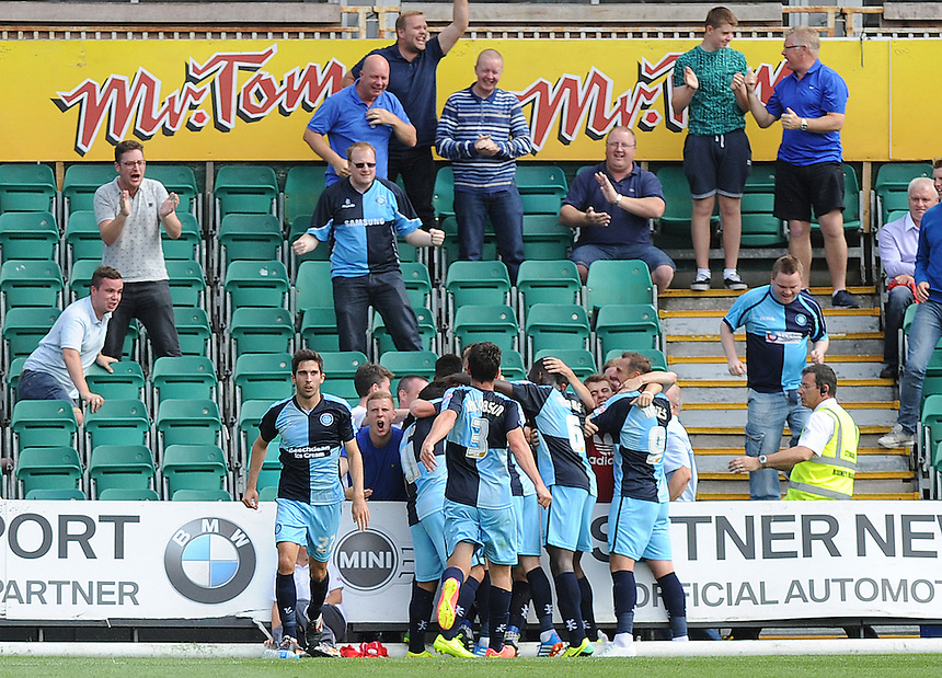 Wycombe Wanderers' Peter Murphy celebrates scoring the opening goal with team mates<br /> <br /> Photographer Ashley Crowden/CameraSport<br /> <br /> Football - The Football League Sky Bet League Two - Newport County AFC v Wycombe Wanderers - Saturday 9th August 2014 - Rodney Parade - Newport<br /> <br /> &copy; CameraSport - 43 Linden Ave. Countesthorpe. Leicester. England. LE8 5PG - Tel: +44 (0) 116 277 4147 - admin@camerasport.com - www.camerasport.com