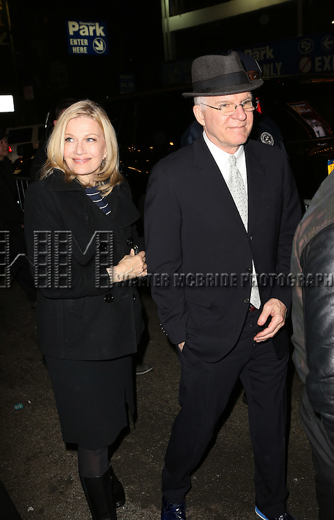 NEW YORK, NY - JANUARY 23:  Diane Sawyer and Steve Martin attend the Re-Opening Night of 'It's Only A Play'  at the Bernard B. Jacobs Theatre on January 23, 2014 in New York City.  (Photo by Walter McBride/WireImage)