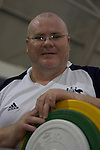 Australia's Darren Gardiner contemplates the task ahead as he works through a training session prior to competition in the men's over 100kg powerlifting class, at the Beijing Paralympic Games. Darren went on to win a silver medal in his event with a lift of 230kg.