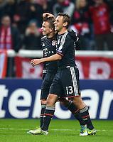 FUSSBALL   CHAMPIONS LEAGUE   SAISON 2012/2013   GRUPPENPHASE   FC Bayern Muenchen - FC Bate Borisov              05.12.2012 Jubel nach dem Tor zum 3:0 Xherdan Shaqiri mit Rafinha (v. li., FC Bayern Muenchen)