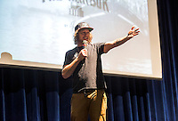NWA Democrat-Gazette/JASON IVESTER <br /> Keynote speaker, Mike Smith, talks to students on Wednesday, Sept. 9, 2015, at Rogers Heritage High School. Smith led the Harbor Back to School Tour for student leaders from several area high schools.