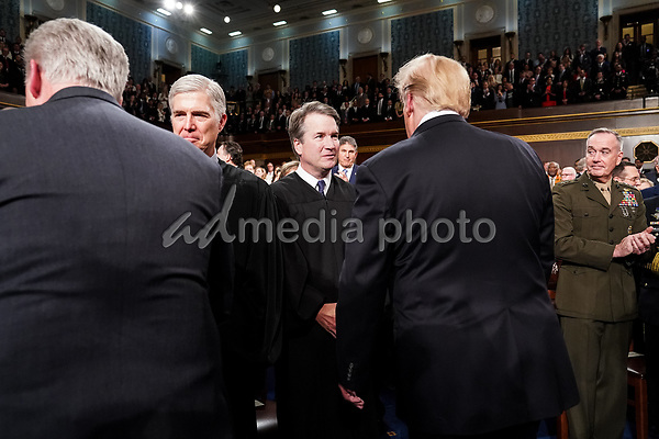 FEBRUARY 5, 2019 - WASHINGTON, DC: Supreme Court Justice Brett Kavanaugh shook hands with President Donald Trump before the State of the Union address at the Capitol in Washington, DC on February 5, 2019. Photo Credit: Doug Mills/CNP/AdMedia