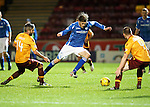 Motherwell v St Johnstone..30.12.15  SPFL  Fir Park, Motherwell<br /> Murray Davidson is sent flying by Keith Lasley<br /> Picture by Graeme Hart.<br /> Copyright Perthshire Picture Agency<br /> Tel: 01738 623350  Mobile: 07990 594431