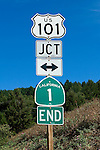 Road sign signaling the end of the California 1, or PCH, near Leggett, California