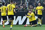 11.05.2019, Signal Iduna Park, Dortmund, GER, DFL, 1. BL, Borussia Dortmund vs Fortuna Duesseldorf, DFL regulations prohibit any use of photographs as image sequences and/or quasi-video<br /> <br /> im Bild Mario G&ouml;tze / Goetze (#10, Borussia Dortmund) jubelt nach seinem Tor zum 3:1 mit Lukasz Piszczek (#26, Borussia Dortmund) <br /> <br /> Foto &copy; nordphoto/Mauelshagen