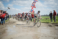 Peter Sagan (SVK/Tinkoff) leads the group of chasers (with Cancellara on his tail) that try to close the gap with the race leaders coming out of sector 11: Auchy-lez-Orchies to Bersée (2.7km)<br /> <br /> 114th Paris-Roubaix 2016
