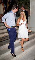 Prince Philippos, and his sister  Princess Theodora of Greece attend a Cocktail Party at The Poseidonion Hotel, in Spetses, Greece, on the eve of the Wedding of Prince Nikolaos of Greece to Tatiana Blatnik.