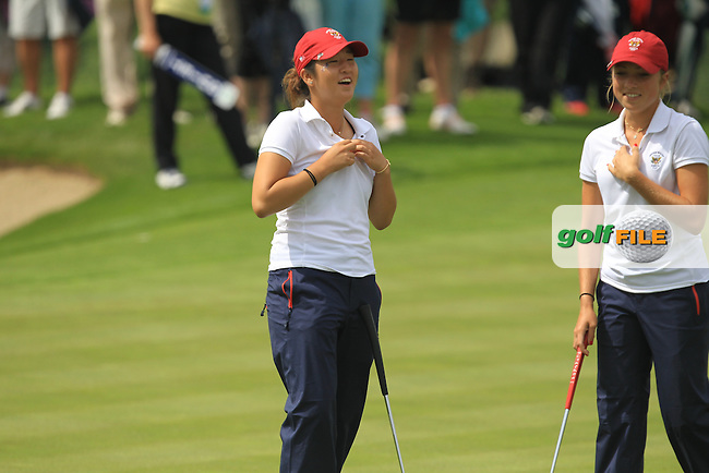 Sierra Brooks and Andrea Lee on the 15th green during the Saturday Mourning Fourbsomes of the 2016 Curtis Cup at Dun Laoghaire Golf Club on Saturday 11th June 2016.<br /> Picture:  Golffile | Thos Caffrey