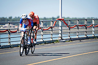 Swiss duo Stefan Küng (SUI/Groupama-FDJ) & Michael Schär (SUI/CCC) forming a breakaway group from the get-go while still crossing the viaduct that connects the island of Oléron to the mainland<br /> <br /> Stage 10 from île d'Oléron (Le Château-d'Oléron) to Île de Ré (Saint-Martin-de-Ré)(169km)<br /> <br /> 107th Tour de France 2020 (2.UWT)<br /> (the 'postponed edition' held in september)<br /> <br /> ©kramon