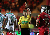 29th September 2017, Parc y Scarlets, Llanelli, Wales; Guinness Pro14 Rugby, Scarlets versus Connacht; Referee Nigel Owens awards the try