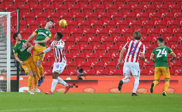 Preston North End's Andrew Hughes heads clear from Stoke City's Tyrese Campbell<br /> <br /> Photographer Stephen White/CameraSport<br /> <br /> The EFL Sky Bet Championship - Stoke City v Preston North End - Saturday 26th January 2019 - bet365 Stadium - Stoke-on-Trent<br /> <br /> World Copyright © 2019 CameraSport. All rights reserved. 43 Linden Ave. Countesthorpe. Leicester. England. LE8 5PG - Tel: +44 (0) 116 277 4147 - admin@camerasport.com - www.camerasport.com