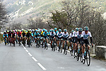 Team Sky lead the peleton with 15km to go during Stage 6 running 198km from Sisteron to Vence, France. 9th March 2018.<br /> Picture: ASO/Alex Broadway | Cyclefile<br /> <br /> <br /> All photos usage must carry mandatory copyright credit (&copy; Cyclefile | ASO/Alex Broadway)